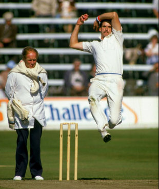 Derbyshire bowler Ole Mortensen bowls  during a match at the Festival in Scarborough, September 1, 1985