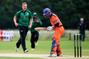 Gareth Andrew has Tom Heggelman lbw for a first-ball duck, Netherlands v Worcestershire, CB40 Group A, The Hague, June, 8, 2012