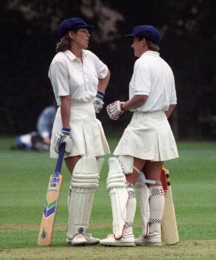 Carole Hodges and Jan Brittin chat during their partnership, England v Denmark, women's World Cup, Banstead, July 20, 1993