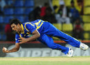Thisara Perera completes an acrobatic caught-and-bowled dismissal