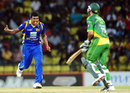 Thisara Perera celebrates Younis Khan's wicket