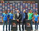 Lasith Malinga, Mahela Jayawardene, Haroon Lorgat, Upali Dharmadasa, Mohammad Hafeez and Shashikala Siriwardene get together to mark 100 days to the World Twenty20, Pallekele, June 10, 2012