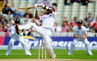 Tino Best goes over the off side, England v West Indies, 3rd Test, Edgbaston, 4th day, June 10, 2012