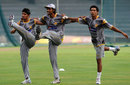 Aizaz Cheema, Rahat Ali and Mohammad Sami stretch, Colombo, June 12, 2012