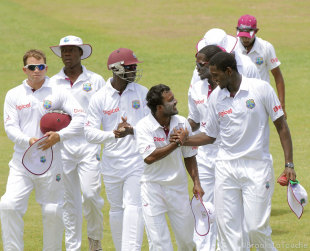 Veerasammy Permaul and Delorn Johnson shared all ten wickets, West Indies A v India A, 2nd unofficial Test, St Vincent, 4th day, June 12, 2012