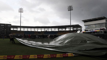 The covers come on at the R Premadasa Stadium