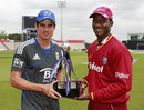Captains Alastair Cook and Darren Sammy pose with the trophy ahead of the one-day series between England and West Indies