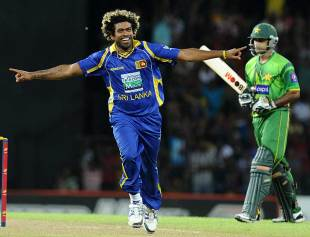 Lasith Malinga dismissed Mohammad Hafeez early, Sri Lanka v Pakistan, 4th ODI, Colombo, June 16, 2012