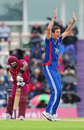 Steve Finn appeals to have Dwayne Bravo lbw for 8