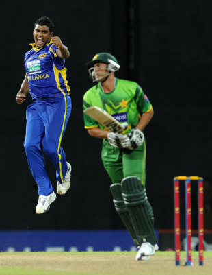 Younis Khan was the first of Thisara Perera's hat-trick victims, Sri Lanka v Pakistan, 4th ODI, Colombo, June 16, 2012