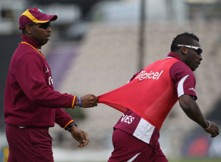 Kieron Pollard pulls Andre Russell during West Indies practice, West End, June 15, 2012