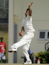 India A's Jalaj Saxena in delivery stride, West Indies A v India A, 3rd unofficial Test, St Lucia, 2nd day, June 17, 2012