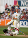 Peter Kirsten is hit by a bouncer from Darren Gough