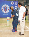 Former Indian batsman Gundappa Viswanath with the Karnataka chief minister, Bangalore, June 18, 2012