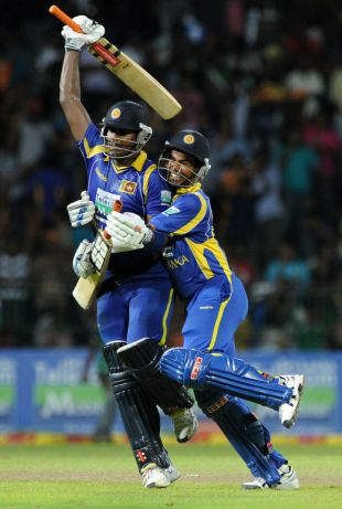 Angelo Mathews and Nuwan Kulasekara celebrate a hard-fought victory, Sri Lanka v Pakistan, 5th ODI, Premadasa Stadium, Colombo, June 18, 2012