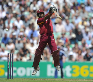Dwayne Bravo is off his feet to play into the off side, England v West Indies, 2nd ODI, The Oval, June 19, 2012
