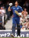 Alastair Cook looks heaven-ward as he reaches a 114-ball century, England v West Indies, 2nd ODI, The Oval, June 19, 2012