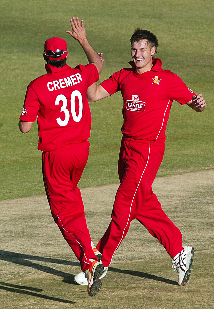 Graeme Cremer and Kyle Jarvis celebrate the final wicket