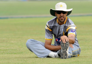 Umar Gul stretches during a training session, Galle, June 21, 2012