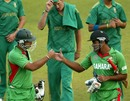 Mashrafe Mortaza and Ziaur Rahman celebrate victory off the penultimate ball, Bangladesh v South Africa, T20 tri-series, Harare, June 22, 2012