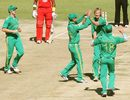 Chris Morris is congratulated by his team-mates, Zimbabwe v South Africa, T20 tri-series, Harare, June 23, 2012