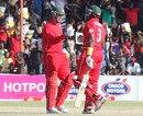 Brendan Taylor and Hamilton Masakadza punch gloves during their match-winning partnership