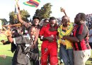 Hamilton Masakadza is congratulated by happy Zimbabwe fans, Zimbabwe v South Africa, T20 tri-series final, Harare, June 24, 2012