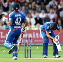 Alex Hales was bowled one run short of his century
