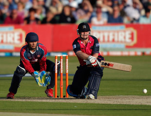 Paul Stirling plays the reverse sweep, Kent v Middlesex, FLt20, South Group, Canterbury, June 26, 2012