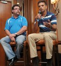 Rahul Dravid and David Boon at the ICC conference, Kuala Lumpur, June 27, 2012