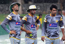Pakistan's quicks in the drizzle at a training session, Colombo, June 28, 2012