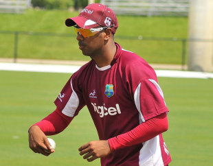 Legspinner Samuel Badree prepares to bowl during training