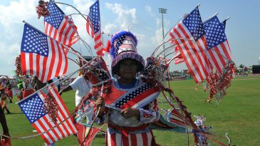 A fan with plenty of US flags