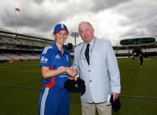 England Women's captain Charlotte Edwards receives her honorary life membership of the MCC, England Women v India Women, 1st ODI, Lord's, July, 1, 2012