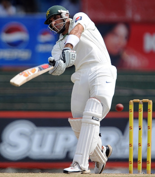 Misbah-ul-Haq heaves on his way to an unbeaten 66, Sri Lanka v Pakistan, 2nd Test, SSC, Colombo, 3rd day, July 2, 2012
