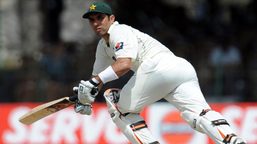 Misbah-ul-Haq pushes a delivery to the leg side