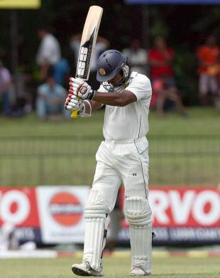 Kumar Sangakkara reacts after missing out on a double-century, Sri Lanka v Pakistan, 2nd Test, SSC, Colombo, 5th day, July 4, 2012