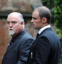 Mike Gatting and Andrew Strauss arrive at Tom Maynard's funeral, Cardiff, July 4, 2012