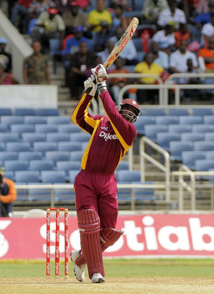 Chris Gayle hits Jacob Oram for six, West Indies v New Zealand, 1st ODI, Kingston, July 5, 2012