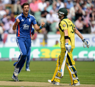 Steven Finn is overjoyed after getting the wicket of Michael Clarke, England v Australia, 4th ODI, Chester-le-Street, July 7, 2012