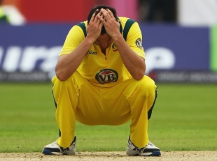 Clint McKay holds his head in his hands, England v Australia, 4th ODI, Chester-le-Street, July 7, 2012
