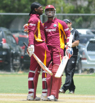 Chris Gayle and Marlon Samuels, the two centurions, West Indies v New Zealand, 2nd ODI, Kingston, July 7, 2012