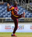 Marlon Samuels celebrates Martn Guptill's wicket, West Indies v New Zealand, 2nd ODI, Kingston, July 7, 2012