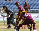 Dwayne Bravo catches Daniel Flynn, West Indies v New Zealand, 2nd ODI, Kingston, July 7, 2012