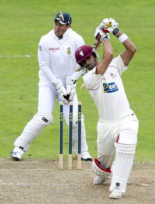 Mark Boucher was struck in the eye by a bail after Gemaal Hussain was bowled, Somerset v South Africans, Tour Match, Taunton, 1st day, July 9, 2012