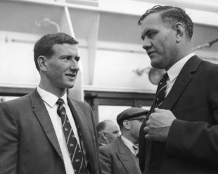 McKenzie meets Alec Bedser on board the <i>SS Himalaya</i> after it arrived in Tilbury in April 1961