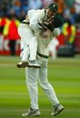 Graeme Smith and Mark Boucher celebrate a wicket at Headingley, England v South Africa, 4th Test, Leeds, August 25, 2003