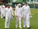 Graeme Smith, AB de Villiers and Mark Boucher walk off the field, New Zealand v South Africa, 3rd Test, Wellington, 5th day, March 27, 2012