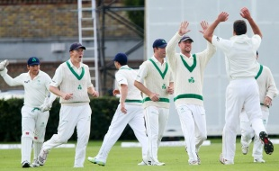 Max Sorensen celebrates a wicket, Ireland v Afghanistan, Intercontinental Cup, 3rd day, Dublin, July 11, 2012