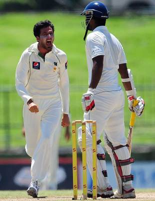 Junaid Khan dismissed Tharanga Paranavitana, Sri Lanka v Pakistan, 3rd Test, Pallekele, 5th day, July 12, 2012